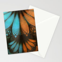 Shikoba Fractal -- Beautiful Leather, Feathers, and Turquoise Stationery Cards
