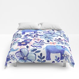 Pale Coral, White and Purple Elephant and Floral Watercolor Pattern Comforters