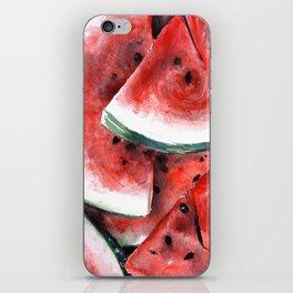 Juicy Watermelon in Watercolor- Food Art iPhone Skin
