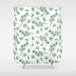 Pastel green watercolor modern orchid floral pattern Shower Curtain
