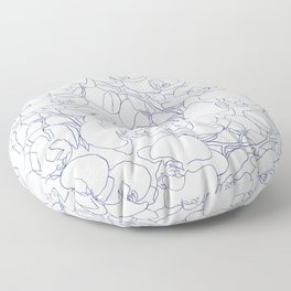 Modern navy blue white hand drawn orchid flowers Floor Pillow