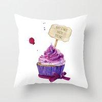 cake Throw Pillows featuring Cake by Iskoskikh Sveta