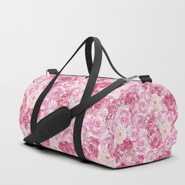 Hand painted white blush pink  coral floral Duffle Bag