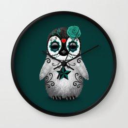 Teal Blue Day of the Dead Sugar Skull Penguin Wall Clock