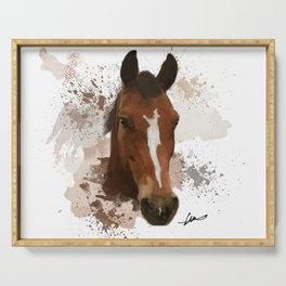 Brown and White Horse Watercolor Serving Tray