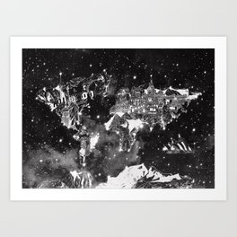 world map galaxy black and white Art Print