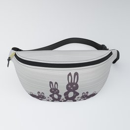 Easter Bunnies Posing For Their Photograph - Grey Black & White Fanny Pack