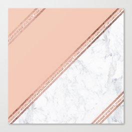 Modern stylish rose gold glitter geometric stripes blush pink white marble color block Canvas Print