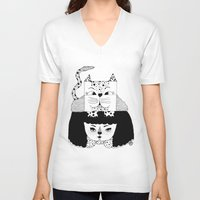mew V-neck T-shirts featuring mew by Jen Lin Aliaga