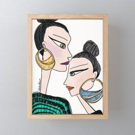 girls in hoop earrings Framed Mini Art Print