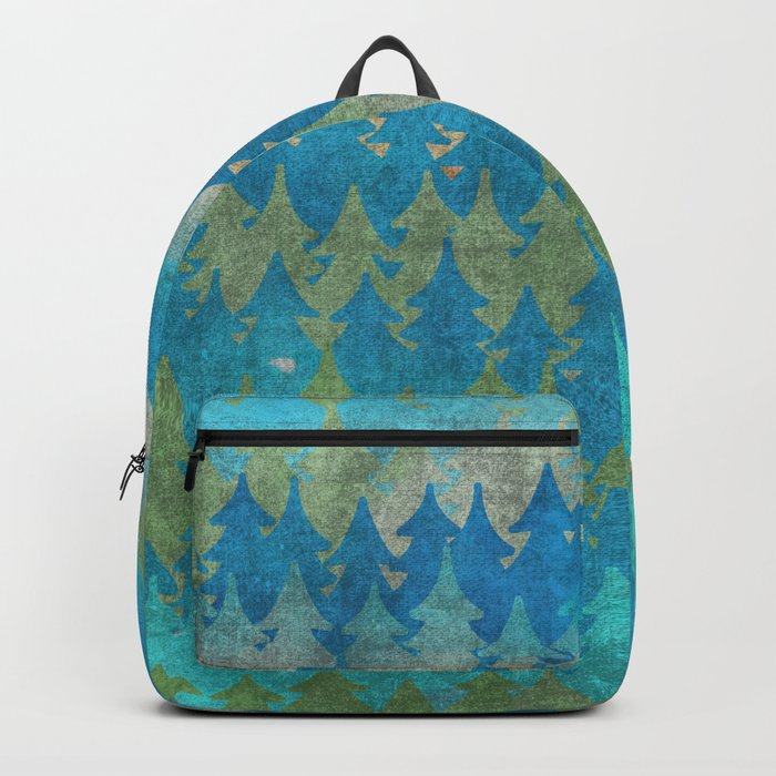 The secret forest - Abstract aqua turquoise Forest tree pattern Backpack