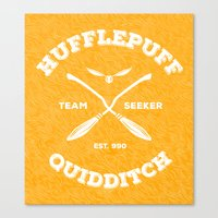 quidditch Canvas Prints featuring Hufflepuff Quidditch by Sharayah Mitchell