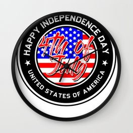 July 4th Happy Independence Day United States of America Wall Clock