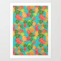 pineapples Art Prints featuring Pineapples by Laura Barnes