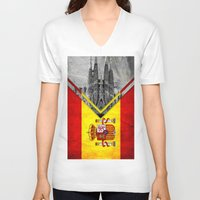 spain V-neck T-shirts featuring Flags - Spain by Ale Ibanez