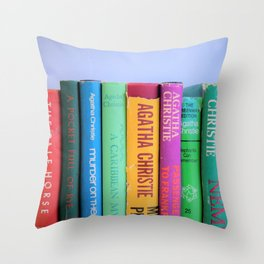 Row of Colorful Vintage Agatha's Throw Pillow