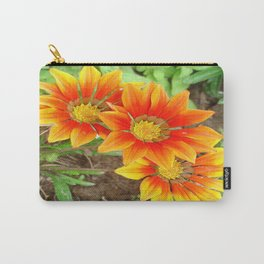 Three Bright Colored Gazania Flowers and Garden Carry-All Pouch