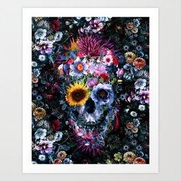 Voodoo Skull Floral Art Print