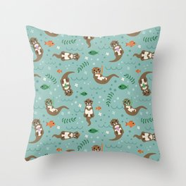 Kawaii Otters Playing Underwater Throw Pillow