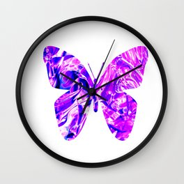 Fluid Butterfly (Violet Version) Wall Clock