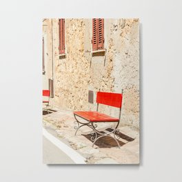 Red bench in the Italic sun Metal Print