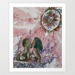 Cherry Blossom Moon Remix Art Print