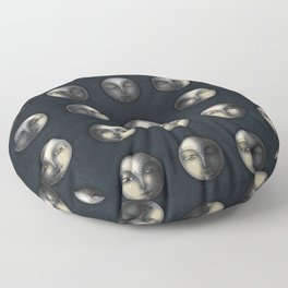 moon phases and textured darkness Floor Pillow