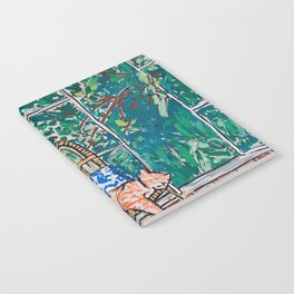 Napping Ginger Cat in Pink Jungle Garden Room Notebook