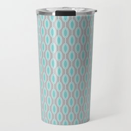 Mid Century Modern Striped Contemporary Geometric Beaded Garland in Turquoise and Gray Travel Mug