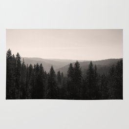 Sepia Tree Lined Valley Photography Print Rug