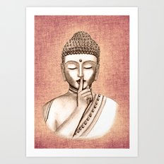 Buddha Shh.. Do not disturb - Colored version Art Print