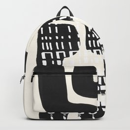 Vintage Abstract Mid Century Modern Playful Dark Black Ink Maze Pattern White Tribal Marks Backpack