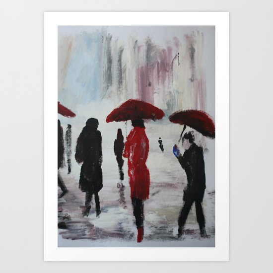 The Girl With The Red Umbrella Impressionist Fine Art Art Print
