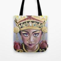 bali Tote Bags featuring Bali Dancer by Marisa Jiménez