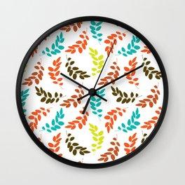 Colorful Leaves, Leaf Pattern - Blue Orange Green Wall Clock
