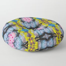 Bold Abstract Tile Style Acrylic Painting Repeat Pattern Floor Pillow