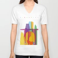 singapore V-neck T-shirts featuring Shapes of Singapore. by Glen Gould