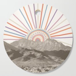 Bohemian Tribal Sun / Abstract Vintage Mountain Happy Summer Vibes Retro Colorful Pastel Sky Artwork Cutting Board