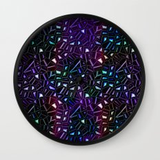 Midnight Rainbow Glitter Wall Clock