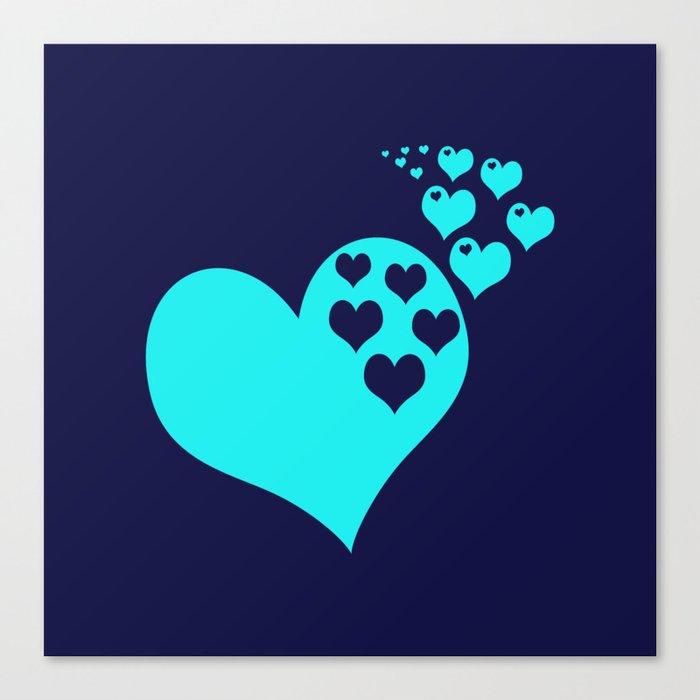 Love Navy Turquoise Canvas Print