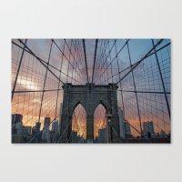 brooklyn bridge Canvas Prints featuring Brooklyn Bridge by Matthieu Cassard