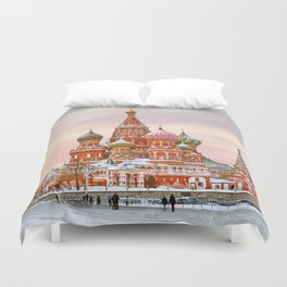 Snowy St. Basil's Cathedral Duvet Cover