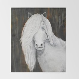 White Shetland Pony Painting Throw Blanket