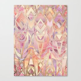 Glowing Coral and Amethyst Art Deco Pattern Canvas Print