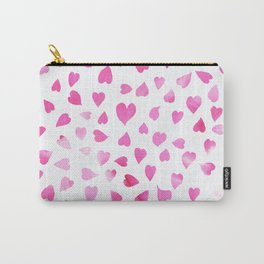 Blush pink hand painted watercolor valentine hearts Carry-All Pouch