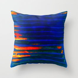 Midnight Blue Lava Lines, Our Earth Burn Marks Throw Pillow