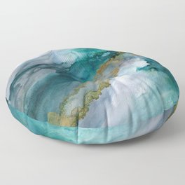 Wild Rush - abstract ocean theme in teal gray gold, marble pattern Floor Pillow