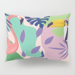 Tropical Jungle With Flamingos And Toucans Memphis Style Pillow Sham