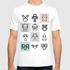 Typographic Characters MEDIUM White Mens Fitted Tee