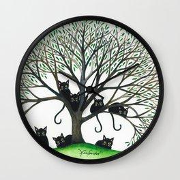 Borders Stray Cats in Tree Wall Clock